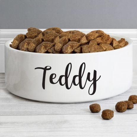 Personalised Medium White Ceramic Pet Bowl - Dog or Cat 14cm