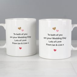 Personalised Confetti Hearts Wedding Mug Set P0805I26