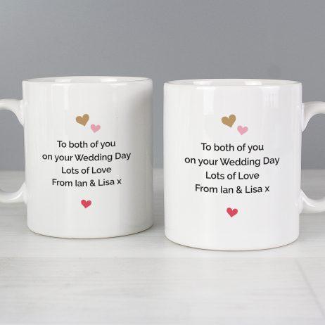 Personalised Wedding Confetti Hearts Mug Set