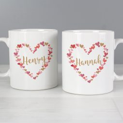 Personalised Wedding Confetti Hearts Mug Set