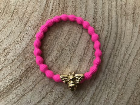 Lupe Bee Charm Hairband Bracelet - Hot Pink Gold