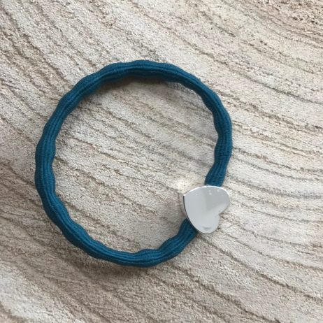 Lupe Heart Charm Stackable 2 in 1 Hair Tie Bracelet - Teal Silver Wristee