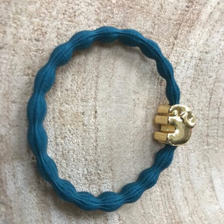 Lupe Elephant Charm Stackable 2 in 1 Hair Tie Bracelet - Teal Gold Wristee