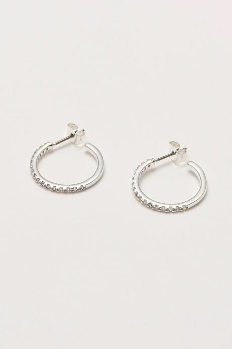 Estella Bartlett Classic Hoop Silver Plated Earrings with Cubic Zirconia
