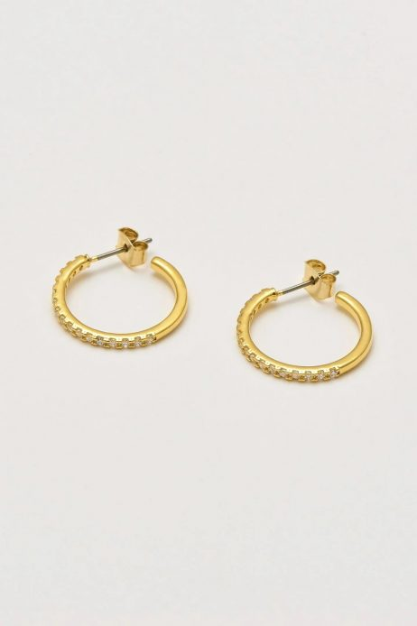 Estella Bartlett Classic Hoop Gold Plated Earrings with Cubic Zirconia