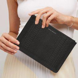 Estella Bartlett Black Snake Print Medium Pouch