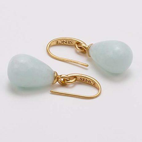 Sence Copenhagen Aquamarine Matt Gold Drop Earrings