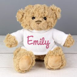 Personalised Rainbow Pink Teddy Bear Name Only
