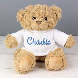 Personalised Rainbow Blue Teddy Bear Name Only
